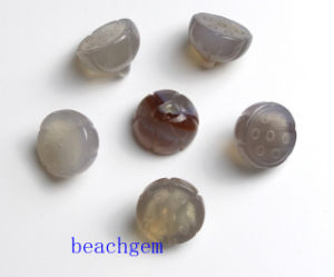 Jewelry Parts-Natural Gray Onyx Lotus Beads