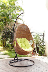 Cozy Rattan Egg-Shaped Patio Swing Chair Outdoor Furniture (BZ-W014)
