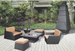 6 PCS Stackable Black Metal Outdoor Patio PE Rattan Sofa