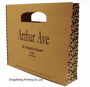 Brown Recyclable Kraft Paper Gift Packing Bag with Diecut Handle
