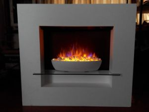 Modern Bowl Insert Fireplace with Mantel