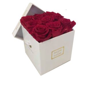 China Wholesale Popular Square Rigid Paper Flower Gift Box For