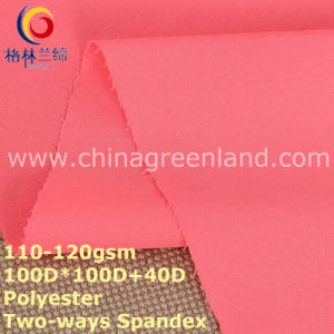Polyester Pongee Spandex Plain Dyeing Fabric for Woman Textile (GLLML293) pictures & photos