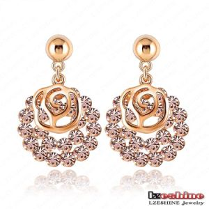 Gold Plated Hollow Rose Flower Earring Fashion (ER0029-C)