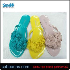 Fashion Stress Flower Jelly Thong Flip Flops Slippers for Women
