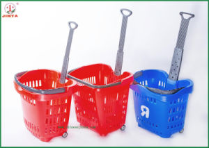 Colorful Plastic Store Shopping Basket with Wheels (JT-G05) pictures & photos