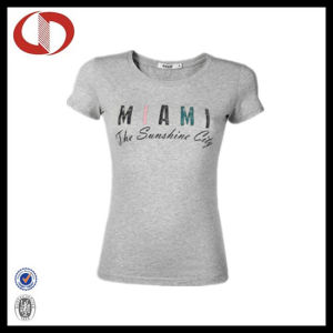 New Fashion Gray Printed Womens T Shirts Made in China pictures & photos
