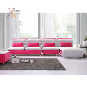 Grey And Pink Fabric Sofa Set With Stainless Steel Leg 9028b