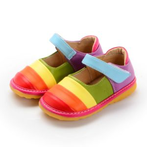Rainbow Handmade Baby Girl Squeaky Shoes Soft Kids Leather Shoes
