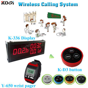 Popular Vibration LED Number Paging Set K-336+Y-650+D3 Cafe Button Paging System pictures & photos
