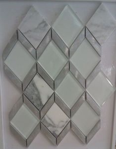 Rhombus Mosaic, Aluminum and Marble Crystal Glass Tile (HGM380) pictures & photos