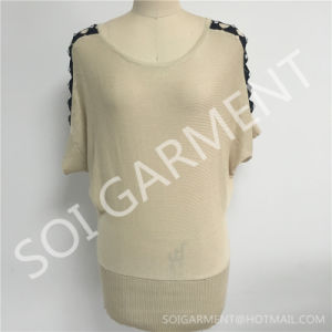 New Ladies Knitted Short Sleeves Long Sweater (SOITSW-56)