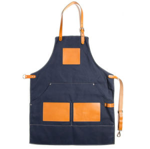 Full Length Duck Canvas Work Apron Tool Apron with Leather Trim