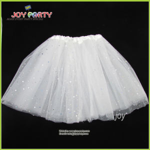 White Party Skirt Lady Dancerwear Tutu Pettiskirt with Silver Star