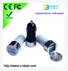 Metal Car Charger Dual USB with Epoxy Logo (original factory, with patent)