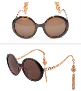 2015 Wholesale Gorgeous Elegant Lady Round Sunglasses Big Box Chain Tassel Sunglasses Female Personality Lantern Sun Glasses (69113)