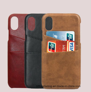 brand new ae24d e84ca Credit Card Holder Back Leather Phone Case Cover for iPhone X