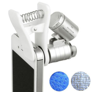60X Universal Mobile Phone Clip LED Microscope Magnifier with UV Currency Detector Flashlight pictures & photos