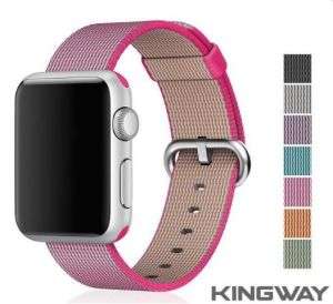 New Original 1:1 38mm 42mm Nylon Watch Band with Steel Buckle For Apple Watch Woven Nylon Watch band(apple case)pink color
