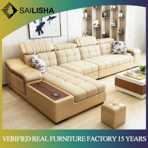 High End Genuine Leather Corner Sofa Set 7 Seater L Shaped Nordic Style Combination Sectional Couch
