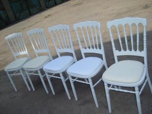 White Wooden Napoleon Chairs with Cushions (WN001)