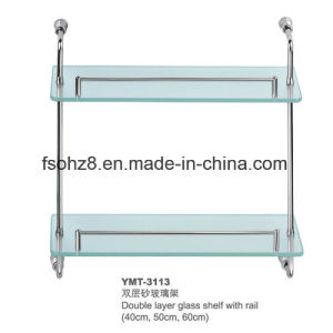 Bathroom Ss Glass Shelf with Rail for Household (YMT-3113) pictures & photos