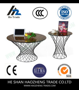 Hzct106 The New Glass Top Surface Metal Feet Side Table