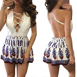 Fashion Women Sexy Slim Printed V-Neck Bandage Backless Clothes Dress pictures & photos