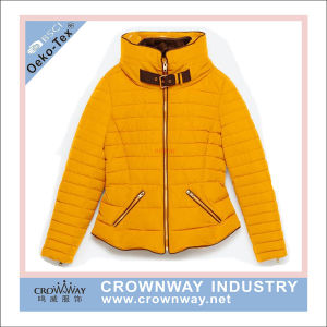 Women Ladies Winter Padded Jacket with Stand Collar pictures & photos