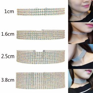 Fashion Luxury Women Bling Crystal Diamond Choker Necklace Women Wedding Jewelry