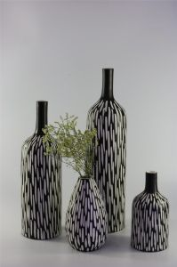 Handmade Ceramic Vase with Hand Carved Patterns