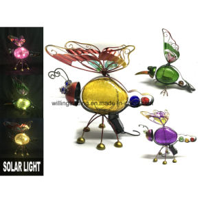 New Solar Lighted Metal and Glass Ball Butterfly Garden Decoration