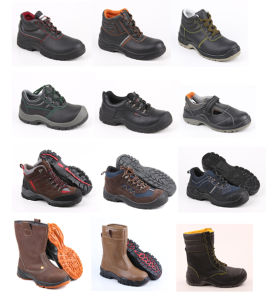 Industrial PU Outsole Black Leather Safety Shoes (SN1717) pictures & photos