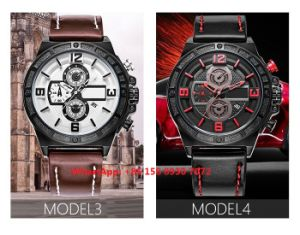 Handsome Smart Quartz Men′s Watches with Genuine Leather Strap Fs654