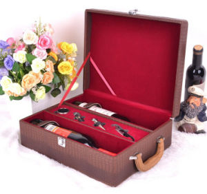 Luxury Crocodile Leather Wine Set Colleciton Box pictures & photos