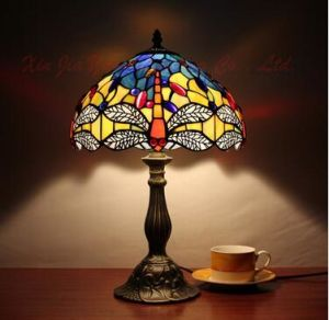 Table Lamp Flower Shade Stained Gl