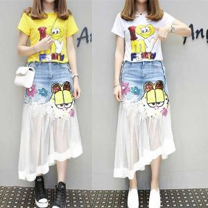 Womens Denim Skirt 2018 Summer And Autumn New Water Soluble Lace Stitching Sexy Lace Patchwork Lady Jeans Skirts Dress Cotton Long Fashion Denim