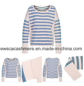 Lady′s Pure Cashmere Knitwear with Stripes