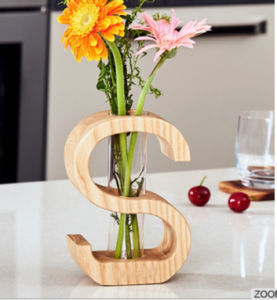 Home Decor Wood Flower Vase with Glass Bottle pictures & photos