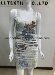 Womens Sexy Dress with Garment Crumple and Print pictures & photos