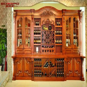 Indian Carved Make Wood Wine Rack Cabinet With Bar (GSP19 016)