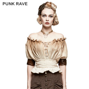 T-444 Steampunk New Fashion Classical Slash Neck Narrow Waist T-Shirt
