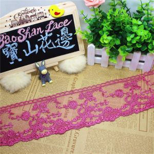 Stock Wholesale 9.5cm Width Embroidery Nylon Net Lace Polyester Embroidery Trimming Fancy Lace for Garments Accessory & Home Textiles & Curtains