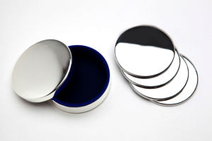 Stainless Steel Round Coasters with Holder