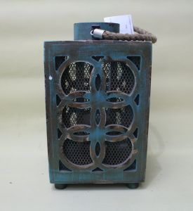 Lake Blue Copper Shape Elegant Classical Lucky Square Lantern