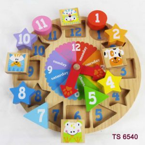 Latest New Design Preschool Wooden Puzzle Clock