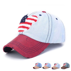 Towel Patch Embroidered Cotton Denim Baseball Cap (YKY3077) pictures & photos