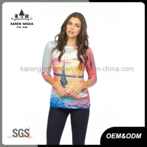 Lady Sunset Sailboat Pattern 3/4 Sleeve Fashion Sweater pictures & photos