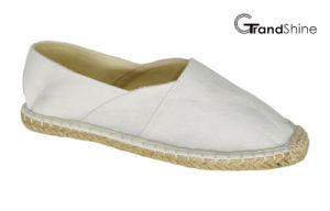Women′s Casual Espadrille White Canvas Flat Shoes