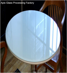 China 6mm 10mm Circle Colored Printed Tempered Glass Table Tops